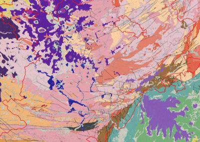 Carte géologique simplifiée des Monts d'Ardèche