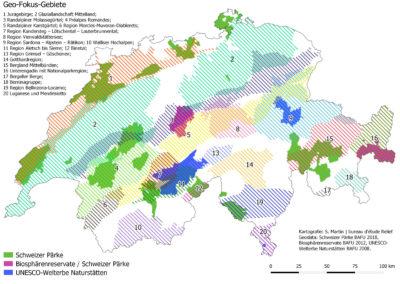 Comparaison entre les régions géo-focus et zones protégées en Suisse