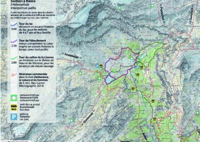 Carte des itinéraires pédestres de Derborence