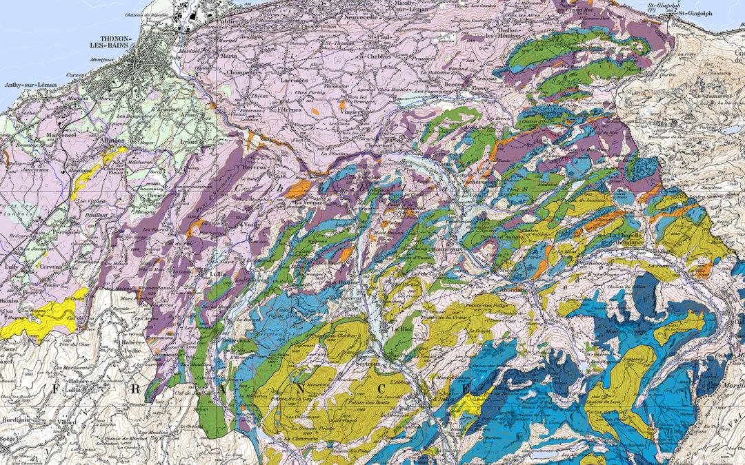 Carte géologique simplifiée du Géoparc Chablais