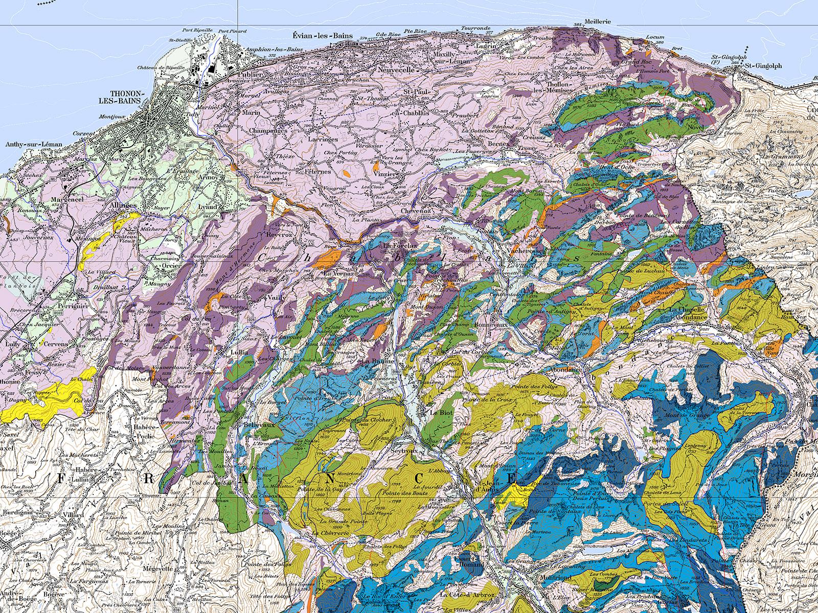 Fond de carte géologique simplifié.
