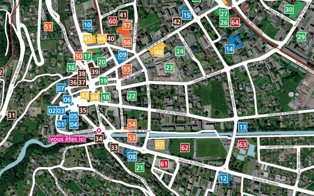 Plan de ville pour mobilité piétonne