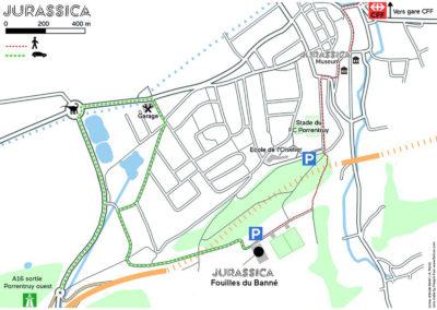 Plan d'accès au satellite Jurassica des fouilles du Banné.