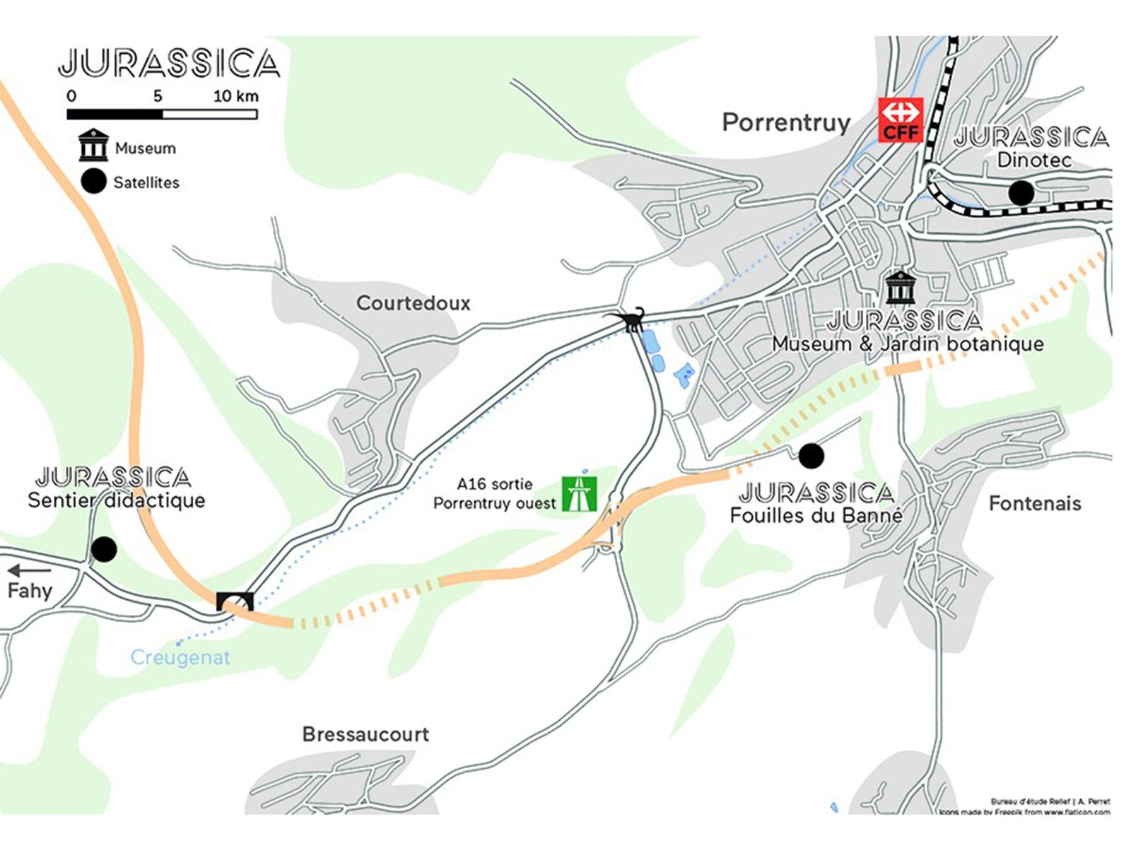 Plan général des sites et satellites Jurassica.