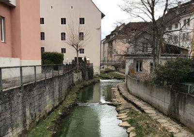 La ville de Porrentruy est parcourue par plusieurs cours d'eau.
