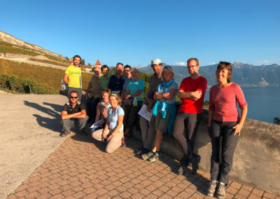 Médiateurs du Geopark Chablais sur les terrasses du Lavaux.